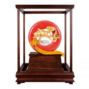 DY 龍如意大紅金玻璃櫥
