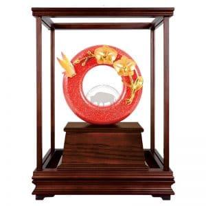 DY  芝蘭之香大紅金玻璃櫥藝品