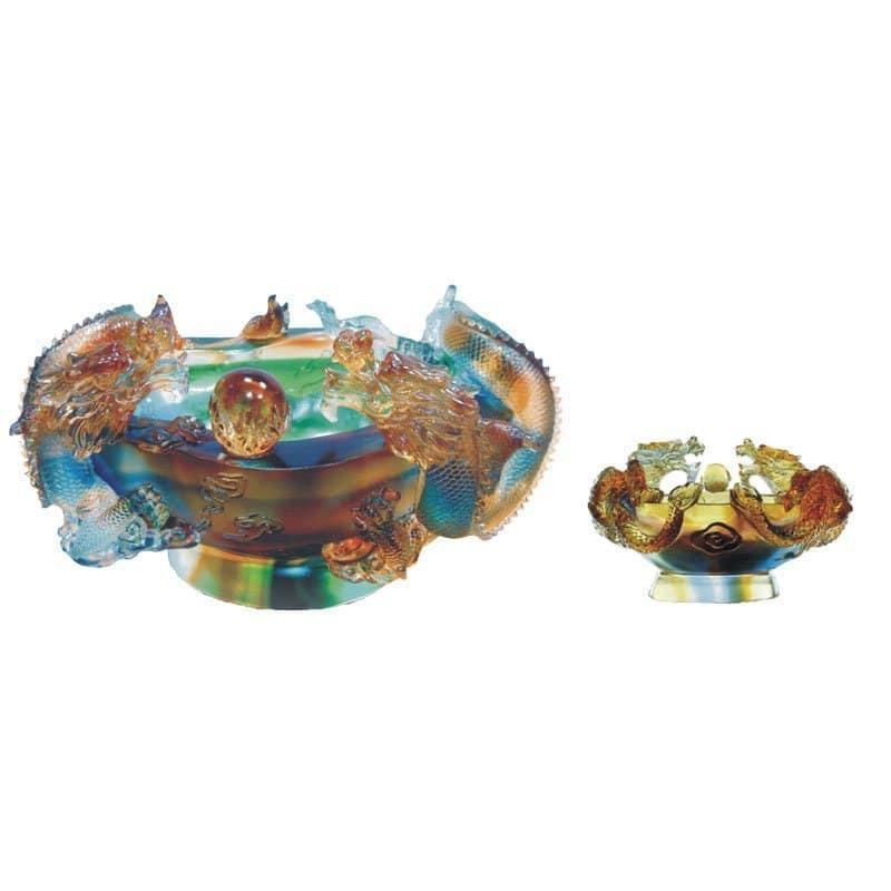 CB-A086 雙龍鎮財聚寶盆琉璃訂製