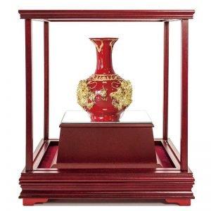 UQB 雙龍獻瑞彩繪雕塑玻璃櫥櫃