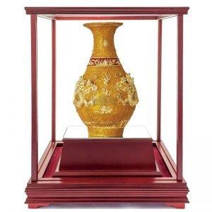 UQC 雙龍獻瑞彩繪雕塑玻璃櫥
